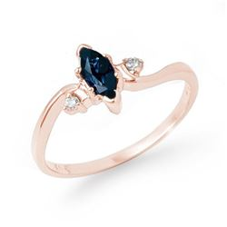 0.42 CTW Blue Sapphire & Diamond Ring 14K Rose Gold - REF-18Y4K - 13190