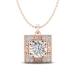 1.02 CTW VS/SI Diamond Solitaire Art Deco Necklace 18K Rose Gold - REF-200A2X - 37272