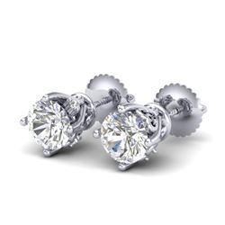 1.26 CTW VS/SI Diamond Solitaire Art Deco Stud Earrings 18K White Gold - REF-209H3A - 37019