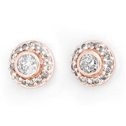 0.90 CTW Certified VS/SI Diamond Solitaire Stud Earrings 14K Rose Gold - REF-91K3W - 11463