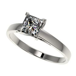 1 CTW Certified VS/SI Quality Princess Diamond Engagement Ring 10K White Gold - REF-297T2M - 32994