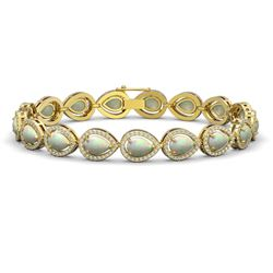 13.19 CTW Opal & Diamond Halo Bracelet 10K Yellow Gold - REF-301K5W - 41107