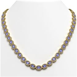 31.96 CTW Tanzanite & Diamond Halo Necklace 10K Yellow Gold - REF-604M2H - 40411