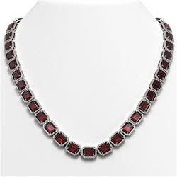 60.59 CTW Garnet & Diamond Halo Necklace 10K White Gold - REF-676M5H - 41375
