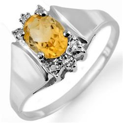 1.23 CTW Citrine & Diamond Ring 18K White Gold - REF-35W5F - 10216