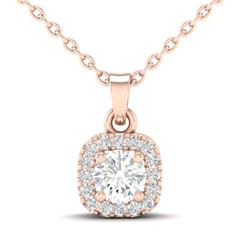 0.38 CTW Citrine & Micro VS/SI Diamond Heart Necklace Halo 14K Rose Gold - REF-25X8T - 21307