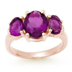 6.15 CTW Amethyst Ring 10K Rose Gold - REF-31M5H - 13692