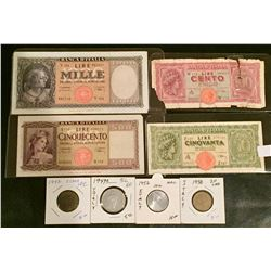 8 Italian Lire Coins & Bills