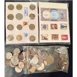 12 Egyptian Coins, 8 Stamps & 1 Bill; Bag of World Coins (Approx. 1 lb.)