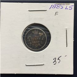 1885 Canada Five Cent - Large 5 - Silver