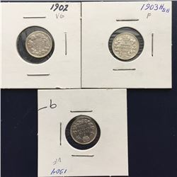 3 Canada Five Cents - Silver