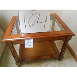 Bevel Glass Walnut Lamp Table/ Like New