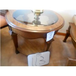 Oval Bevel Glass Walnut Lamp Table /Like New