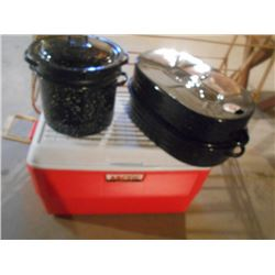 2 granite cookers and cooler