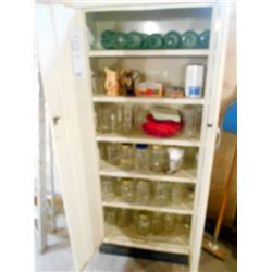 Large Metal Cabinet with Canning Supplies