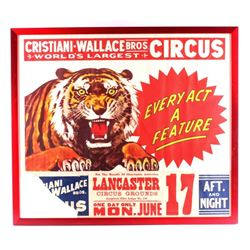 Cristiani-Wallace Bros Circus Framed Poster 1954-