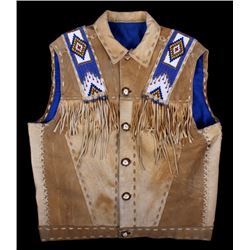 Native American Buckskin Beaded Vest, 20th Century