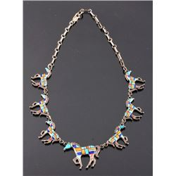 Zuni Sterling Silver Inlaid Mosaic Horse Necklace