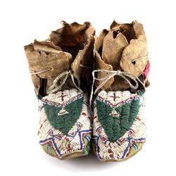 Oglala Lakota Sioux Beaded Moccasins c. 1860-1870