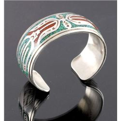 Navajo Signed Sterling Silver Turquoise Coral Cuff