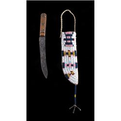 Cheyenne Fully Beaded Sheath & Trade Knife c. 1890