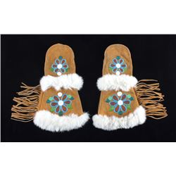 Montana Crow Floral Beaded Gauntlet Gloves