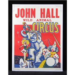 Original John Hall Wild Animal Circus Poster