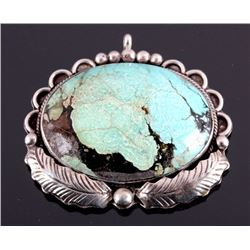 Signed Navajo Sterling Silver Turquoise Pendant
