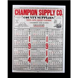 1914 Champion Supply Company Calendar