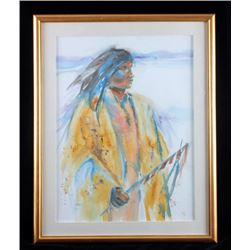 Original Native American Indian Watercolor