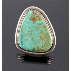 Signed Navajo Sterling Silver Turquoise Ring