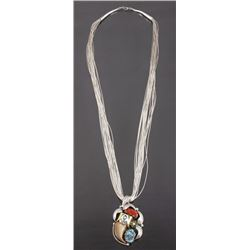 Navajo Multi-Stone & Bearclaw Pendant Necklace