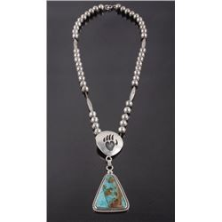 Navajo Royston Turquoise, Bear Paw Motif Necklace