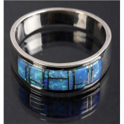 Signed Navajo Sterling Silver & Chip Opal Ring