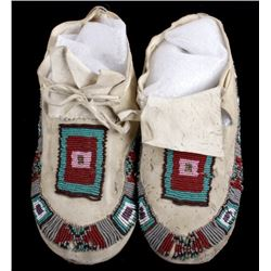Cherokee Hard Sole Beaded Leather Moccasins