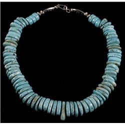 Navajo Fox Turquoise Tear-Drop Bead Necklace
