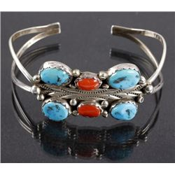 Signed Navajo Morenci Turquoise & Coral Bracelet