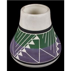 Signed Sioux Polychrome Geometric Motif Vase