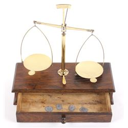 Antique Portable Brass & Hardwood Gold Scale