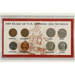 100 YEARS OF US PENNIES AND NICKELS SET