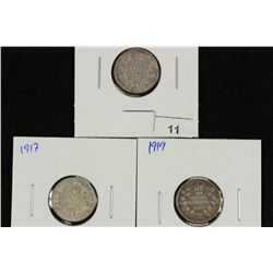 1910,17 & 19 CANADA SILVER 10 CENTS