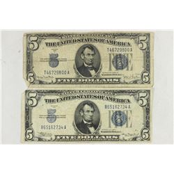 1934 & 1934-D $5 SILVER CERTIFICATES BLUE SEALS