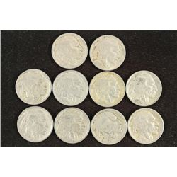 10 ASSORTED 1920'S BUFFALO NICKELS