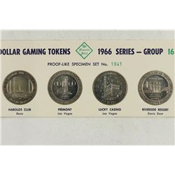 4 $1 GAMING TOKENS 1966 SERIES GROUP 16 (PF LIKE)