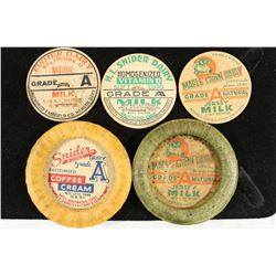 5 VINTAGE MILK BOTTLE CAPS