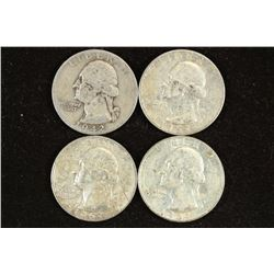 1942,53-D,57-D & 64-D WASHINGTON SILVER QUARTERS