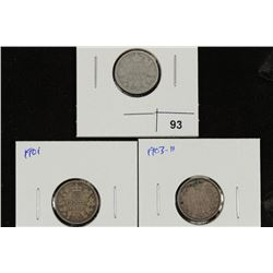 1898, 1901 & 1903-H CANADA SILVER 10 CENTS