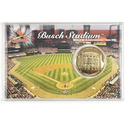 BUSCH STADIUM 24KT GOLD PLATED MEDALLION