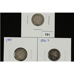 1913,14 & 16-S BARBER DIMES ALL FINES