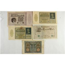 5 LARGE SIZE GERMAN CURRENCY SEE DESCRIPTION